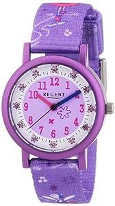 Regent 12400166 - Reloj para niñas de cuarzo, correa de textil color morado