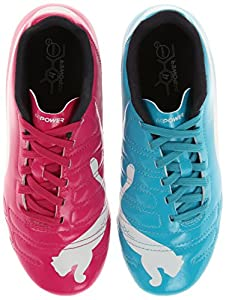 PUMA Evopower 4 Firm Ground JR Soccer Shoe (Little Kid/Big Kid),Beetroot Purple/Bluebird/White,4.5 M US Big Kid