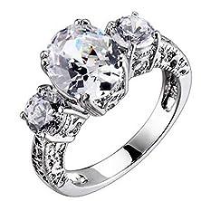 buy Sterling Silver Three Stones Oval/Round Cubic Zirconia Vintage Women Wedding Ring Spj