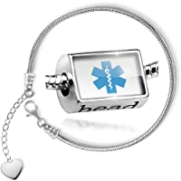 Charm Set Medical Alert Blue Hospital Logo - Bead comes with Bracelet , Neonblond by NEONBLOND