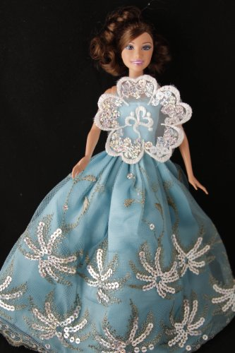 BUYS BY BELLA Blue Sequin Barbie Sized Doll Party Dress - 1
