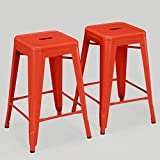 ModHaus Set of 2 Orange Tolix Style Metal Counter Stools in Glossy Powder Coated Finish