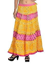 Aura Life Style Women's Block Glace Cotton Bandhej Skirt (ALSK3041B, Multi , Free Size)