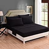 Honeymoon Super Soft Breathable Embroidery Wrinkle Free Fade-resistant No-ironing 6PC Bedding Sheet Set , Deep Pockets, Easy Care - Black,Queen