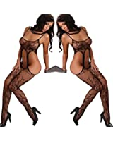 Jubileens Sexy Womens See Through Open Crotch Fishnet Crotchless Bodystocking
