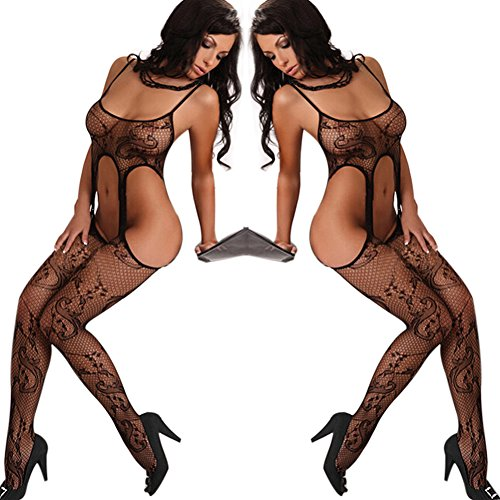 Jubileens Sexy Womens See Through Open Crotch Fishnet Crotchless Bodystocking (Black 1)