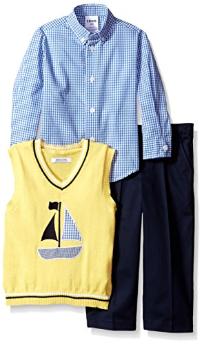 IZOD Little Boys' 3 Piece Novelty Woven Sweater Vest Pant Set, Yellow, 4T