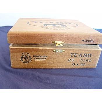Vintage Te Amo Hinged Dovetailed Wooden Cigar Box - Mexico Single Empty