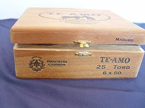 Vintage Te Amo Hinged Dovetailed Wooden Cigar Box - Mexico Single Empty 2