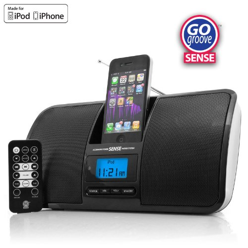 gogroove sense quad speaker sound system with fm radio and. Black Bedroom Furniture Sets. Home Design Ideas