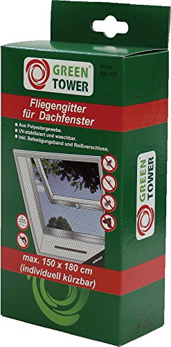 green tower fliegengitter 150x180cm anthrazit f r dachfenster. Black Bedroom Furniture Sets. Home Design Ideas