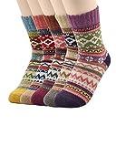 Zando Women's Soft Comfortable Warm Thick Winter Crew Socks F 5 Pack-Diamond(1)