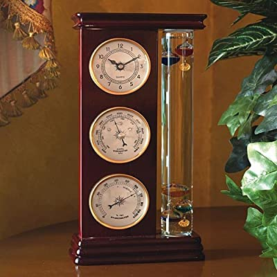 Galileo Weather Station with Galileo Thermometer, a precision quartz clock, barometer and hygrometer by Lilys Home