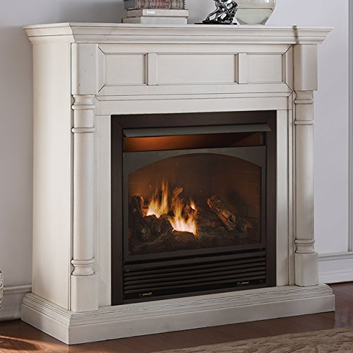 Duluth Forge Full Size Dual Fuel Vent Free Gas Fireplace - 32,000 BTU, Remote Control, Antique White Finish (White Gas Fireplace Ventless compare prices)