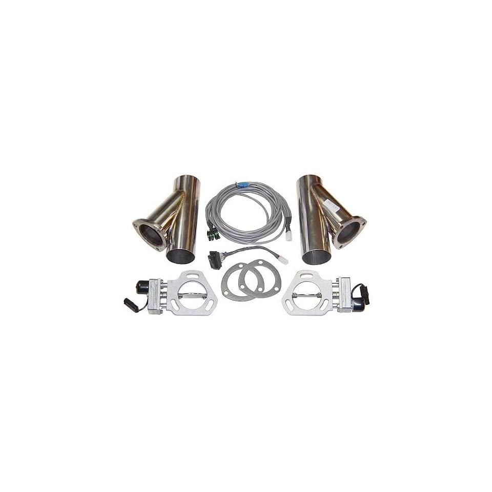 Pypes Exhaust HVE10K 2 1/2 Diameter Stainless Steel Electric Exhaust Cutout with Wiring Harness and Y Pipe Dump Pair