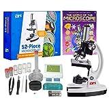 AmScope 1200X 52-pcs Kids Student Beginner Microscope Kit with Slides, LED Light, Storage Box and Book