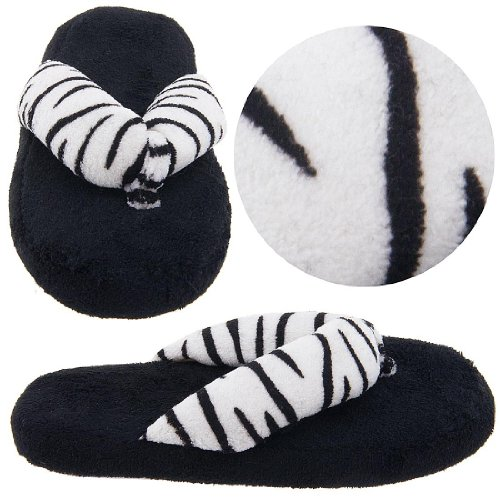 Image of Black and White Zebra Thong Slippers for Women (B0077QTKT2)