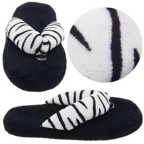 Cheap Black and White Zebra Thong Slippers for Women (B0077QTKT2)