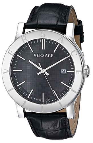 """Versace Men's VQB020000 """"Acron"""" Stainless Steel Watch with Black Leather Band image"""