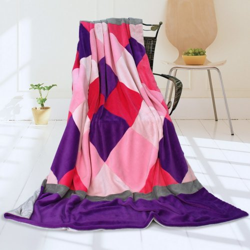 Onitiva - [Plaids - Sweet Days] Soft Coral Fleece Patchwork Throw Blanket (59 By 78.7 Inches) front-146169