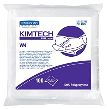 "Kimberly-Clark Kimtech 33330 Pure Disposable Wiper with W4 Dry, 12"" Length x 12"" Width, White, (5 Pack of 100)"