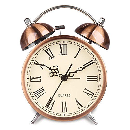 HENSE Twin Bell Alarm Clock Battery Power Night-light Loud Alarm Roman Character Copper Clock Ha41 (4.5