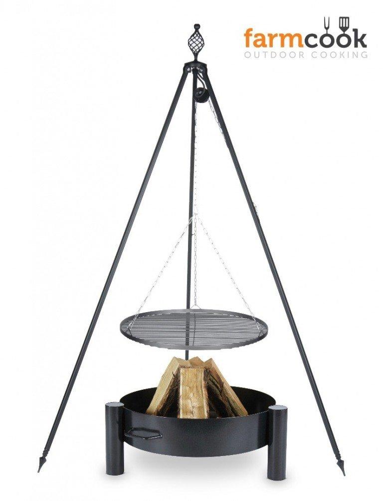 Dreibein Grill OSKAR Höhe 210cm + Grillrost aus Rohstahl Durchmesser 80cm + Feuerschale Pan33 Durchmesser 80cm bestellen