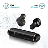 Wireless Earbuds LESHP S3 Best Bluetooth Headphones with Microphone IPX4 Waterproof Sweatproof Sports Earphones with Stereo Noise Cancelling Headsets for iPhone and Android Charging Case (Black)