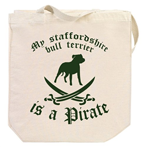 My Staffordshire Bull Terrier is a pirate Canvas Tote Bag