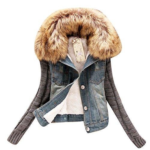 SaiDeng Donna Giacca Jeans Con Collo Di Pelliccia Capispalla L