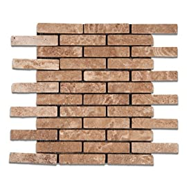 Andean Walnut Peruvian Travertine 1 X 4 Tumbled Brick Mosaic Tile - Lot of 50 Sheets