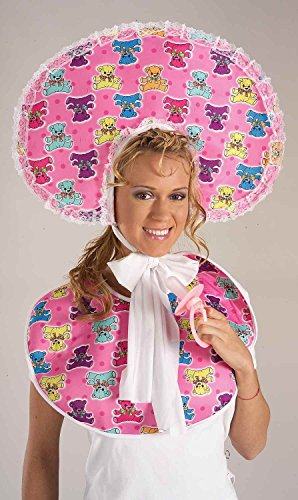Pink Baby Girl Baby Set Bonnet Hat Sissy Teddy Bear Adult Costume Accessory Prop