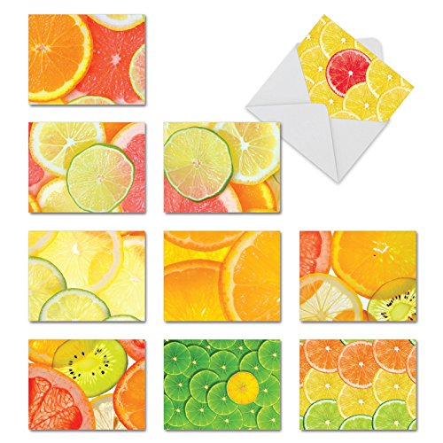 M10021TY Citrus Slices: 10 Assorted Thank You Note Cards Offer Images of Juicy Lemons, Limes and Orangesw/White Envelopes.