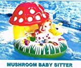 Baby Boat with Mushroom Design - Inflatable Baby Float Swimming Toy for Pool (26 In) Swim Toys Tube Boat with Shade