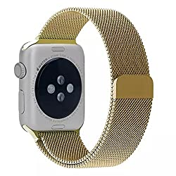 ProElite 42 mm Stainless Steel Milanese Loop Strap with Magnetic Lock Buckle Wrist Band for Apple Watch - Gold [*Watch NOT included*]