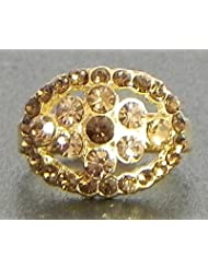 Faux Citrine Adjustable Ring - Stone And Metal