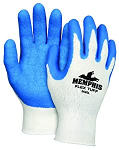 Memphis Glove 9680M FlexTuff Cotton/Polyester Shell Men's Gloves with Latex Dipped Palm and Fingertips, Blue/White, Medium