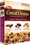 Post, Great Grains, Raisin, Date & Pecan Cereal, 16oz Box (Pack of 4)