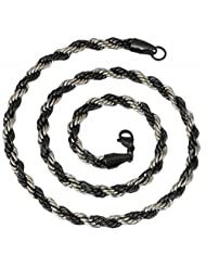 """The Jewelbox Mens Stainless Steel Black Silver Rope Chain 21"""""""