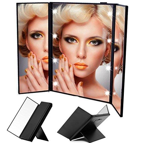 URAQT-Make-Up-Spiegel-Klappspiegel-mit-Beleuchtung-3-Seitig-Faltbar-Beleuchtet-Kosmetikspiegel-Schminkspiegel-Standspiegel