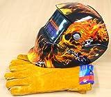 Solar Auto Darkening Welding Helmet , Skull design, Free Leather Welding Gloves