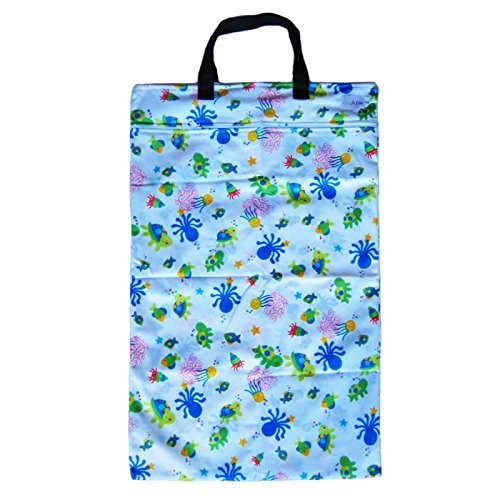 Ecoable Hanging Waterproof Wet/Dry Pail Bag For Cloth Diapers Or Laundry, Ocean, Large