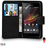 Sony Xperia M Premium Leather Black Wallet Flip Case Cover Pouch + Mini Touch Stylus Pen + RED 2 IN 1 Dust Stopper + Screen Protector & Polishing Cloth SVL1 BY SHUKAN®, (WALLET BLACK)