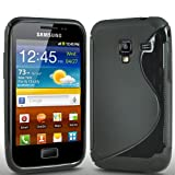 ONX3 Samsung Galaxy Ace Plus S7500 S Line Solid Black Wave Gel Case Skin Cover