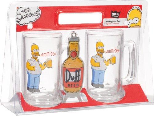 """United Labels 117604 - Set di 2 boccali da birra """"The Simpsons"""" con apribottiglie, capacità: 330 ml l'uno"""