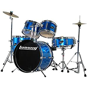 ludwig junior 5 piece drum set with cymbals blue musical instruments. Black Bedroom Furniture Sets. Home Design Ideas