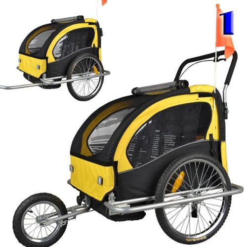 Learn More About Veelar Children Double Bicycle Trailer Jogging Stroller Combo 2 in 1 Yellow/BlACK 5...