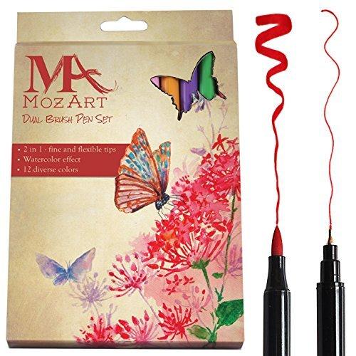 Dual Brush Pen Set - 12 couleurs - Double Tip, durable, de haute qualité, créer d'effet d'aquarelle - Idéal pour les adultes Livres à colorier, Manga, BD, Calligraphie - Fournitures MOZART (12 couleurs)