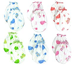 Lucky Lucky 6 Pairs Mix color Scratch Mittens Gloves Cotton Baby Newborn