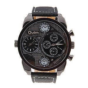 France Army watch Multi-Function Dual Movt Quartz Men's Wrist Watch Leather Watchband Black
